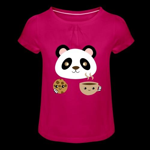 Oso Panda Merendando - Camiseta para niña con drapeado