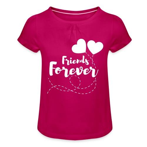 Friends forever Geschwister Zwillinge Partnerlook - Mädchen-T-Shirt mit Raffungen