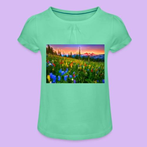 Bagliori in montagna - Maglietta da ragazza con arricciatura