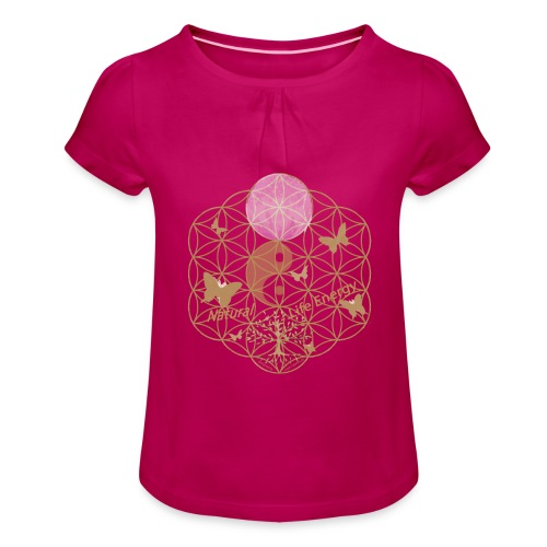 Das Leben umgeben von Energie. Blume des Lebens. - Mädchen-T-Shirt mit Raffungen