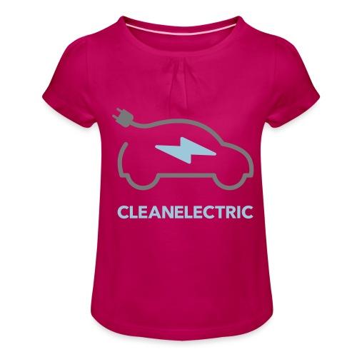 CLEANELECTRIC Logo - Mädchen-T-Shirt mit Raffungen