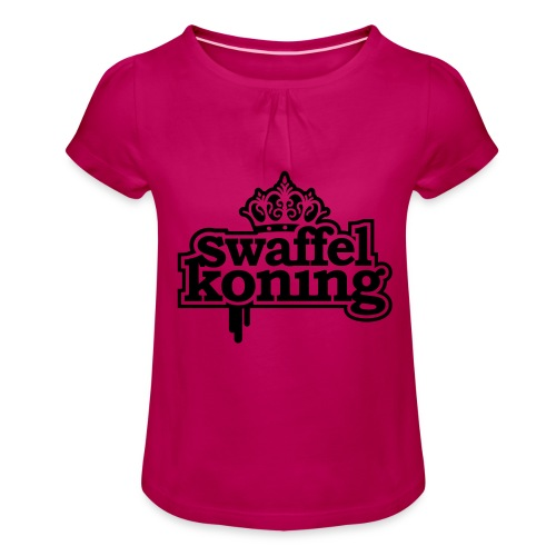 SwaffelKoning - Meisjes-T-shirt met plooien