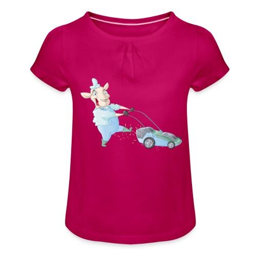 Der Rasen-MÄHER - Mädchen-T-Shirt mit Raffungen