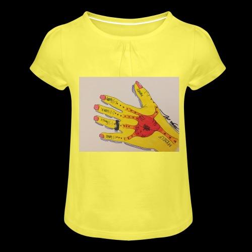 9D8D600F D04D 4BA7 B0EE 60442C72919B - Pige T-shirt med flæser