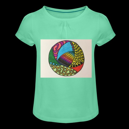 circle corlor - Pige T-shirt med flæser