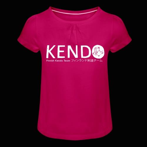 Finnish Kendo Team Text - Tyttöjen t-paita, jossa rypytyksiä