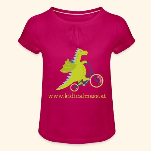 Musikdrache für dunklen Hintergrund - Mädchen-T-Shirt mit Raffungen