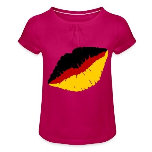Deutschland Lippen Motiv - Mädchen-T-Shirt mit Raffungen