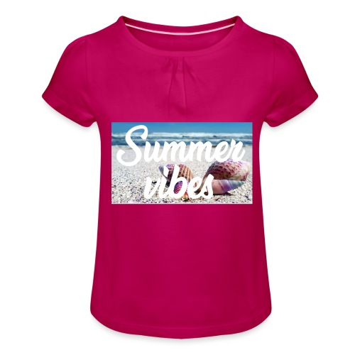 Summervibes - Mädchen-T-Shirt mit Raffungen