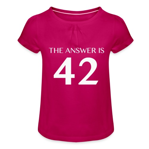 The Answer is 42 White - Girl's T-Shirt with Ruffles