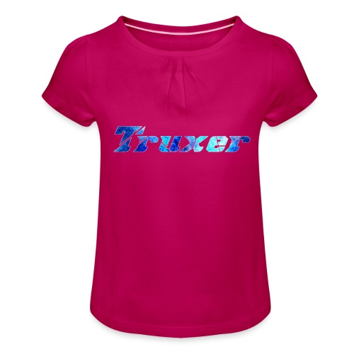 Truxer Name with Sick Blue - Girl's T-Shirt with Ruffles