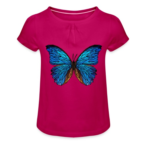 PAPILLON - LOW POLY (Outline) - T-shirt à fronces au col Fille