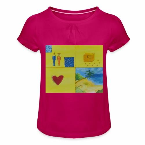 Viererwunsch - Mädchen-T-Shirt mit Raffungen