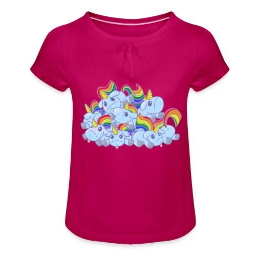 Moar unicorns! - Maglietta da ragazza con arricciatura