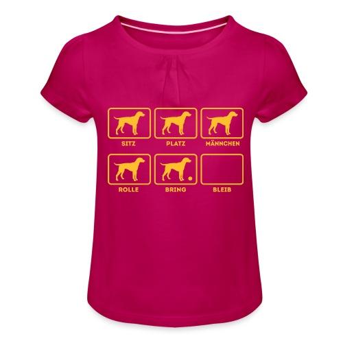 Für alle Hundebesitzer mit Humor - Mädchen-T-Shirt mit Raffungen