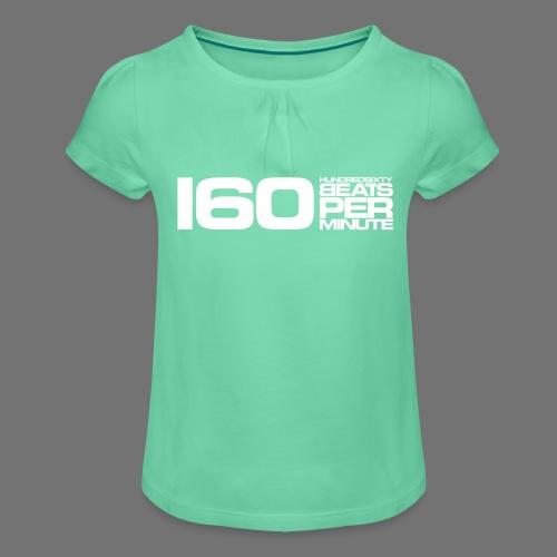 160 BPM (valkoinen pitkä) - Tyttöjen t-paita, jossa rypytyksiä