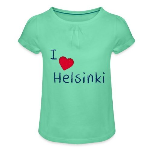 I Love Helsinki - Tyttöjen t-paita, jossa rypytyksiä