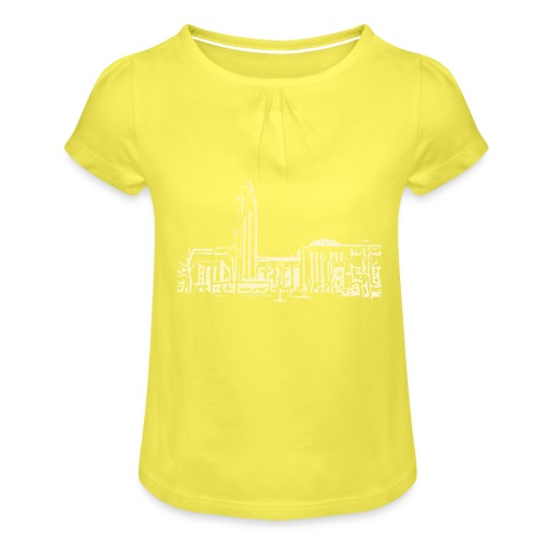 Helsinki railway station pattern trasparent beige - Girl's T-Shirt with Ruffles