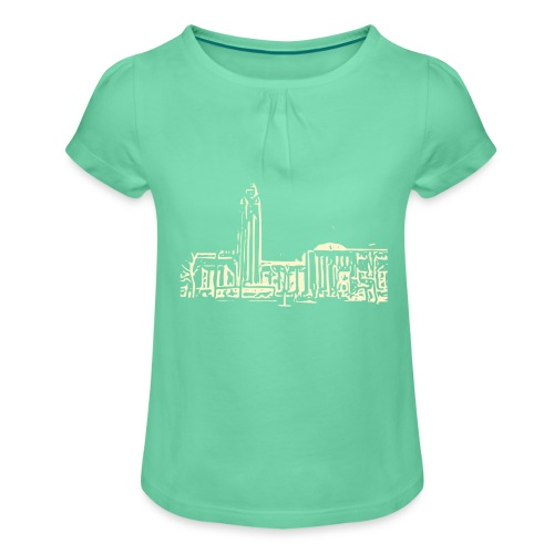 Helsinki railway station pattern trasparent beige - Girl's T-Shirt with Ruffles