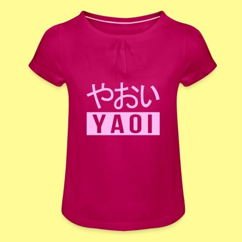 Pink Yaoi やおい - Maglietta da ragazza con arricciatura