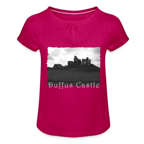 Duffus Castle #1 - Mädchen-T-Shirt mit Raffungen