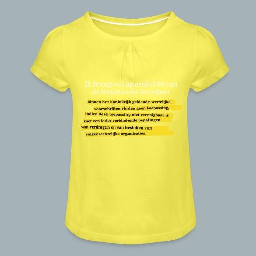 Nederlandse Grondwet T-Shirt - Artikel 94 - Meisjes-T-shirt met plooien