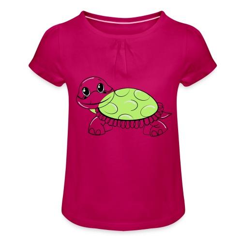 Schildkröte - Mädchen-T-Shirt mit Raffungen