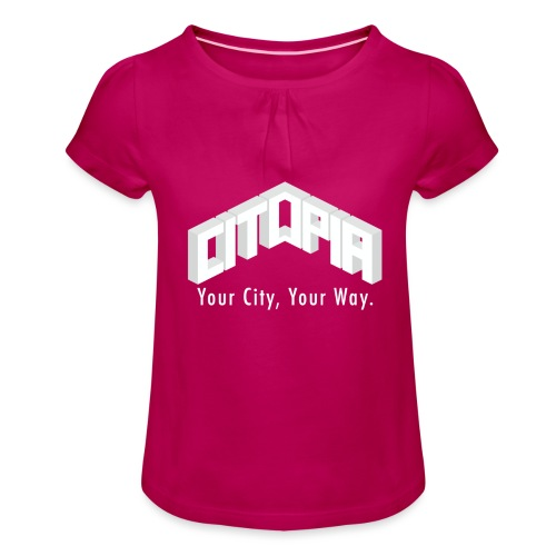 Logo with Slogan - Girl's T-Shirt with Ruffles