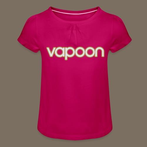 Vapoon Logo simpel 2 Farb - Mädchen-T-Shirt mit Raffungen