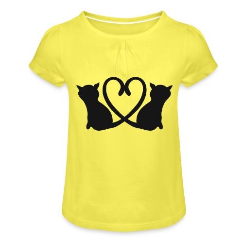 Katzen bilden ein Herz mit ihren Schwänzen - Mädchen-T-Shirt mit Raffungen