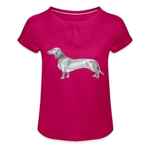 Dachshund smooth haired - Pige T-shirt med flæser