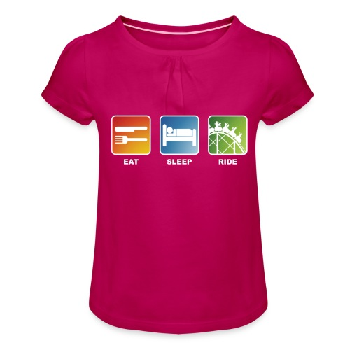 Eat, Sleep, Ride! - T-Shirt Schwarz - Mädchen-T-Shirt mit Raffungen