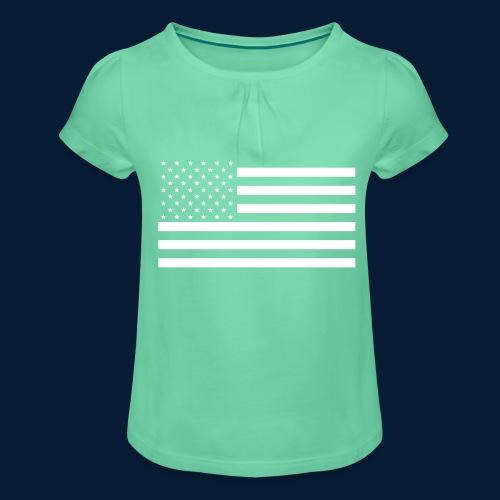 Stars and Stripes White - Mädchen-T-Shirt mit Raffungen
