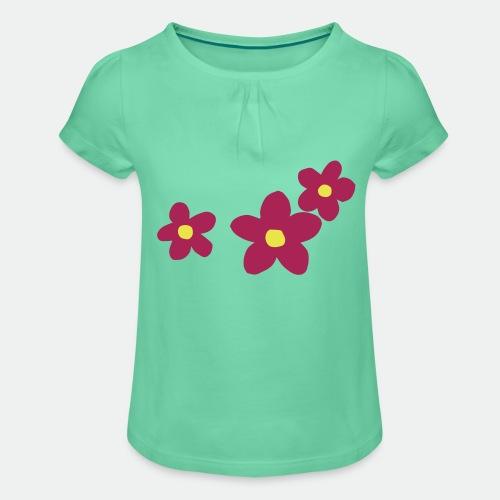 Three Flowers - Girl's T-Shirt with Ruffles