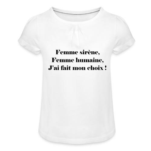 Ariel - T-shirt à fronces au col Fille