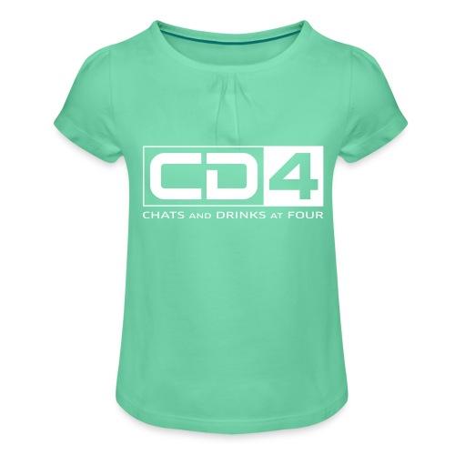 cd4 logo dikker kader bold font - Meisjes-T-shirt met plooien