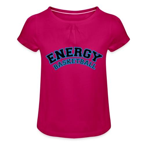 baby energy basketball logo nero - Maglietta da ragazza con arricciatura