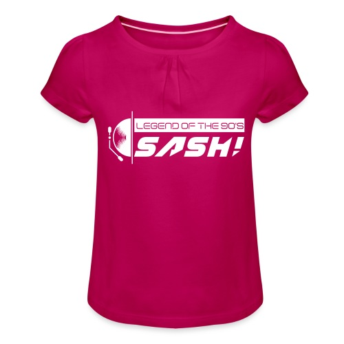 DJ SASH! Turntable Logo - Girl's T-Shirt with Ruffles
