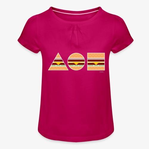 Graphic Burgers - Maglietta da ragazza con arricciatura