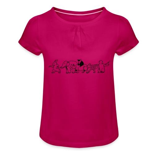 animals - Mädchen-T-Shirt mit Raffungen