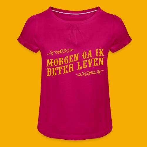 tshirt yllw 01 - Meisjes-T-shirt met plooien