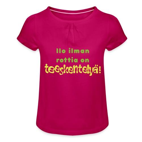 Ilo ilman rottia - vihreä - Tyttöjen t-paita, jossa rypytyksiä