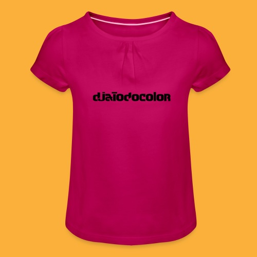 DJATODOCOLOR LOGO NEGRO - Camiseta para niña con drapeado