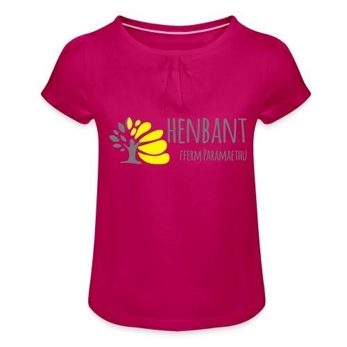 henbant logo - Girl's T-Shirt with Ruffles