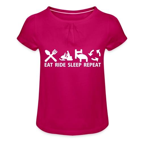 Snöskoter (Sled) - T-shirt med rynkning flicka