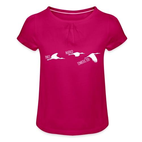 3 horizons oiseaux white - T-shirt à fronces au col Fille