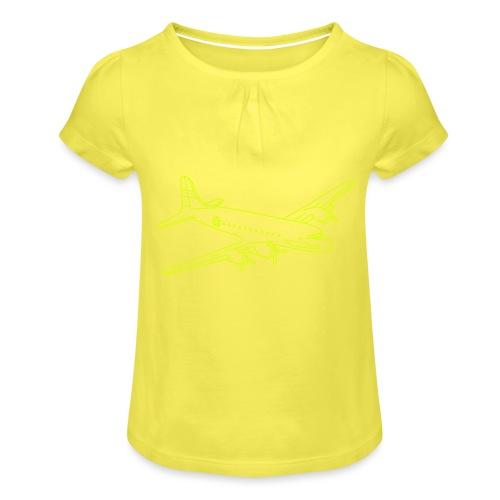 Flugzeug - Mädchen-T-Shirt mit Raffungen