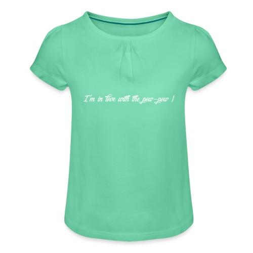 Pow-pow white - T-shirt à fronces au col Fille