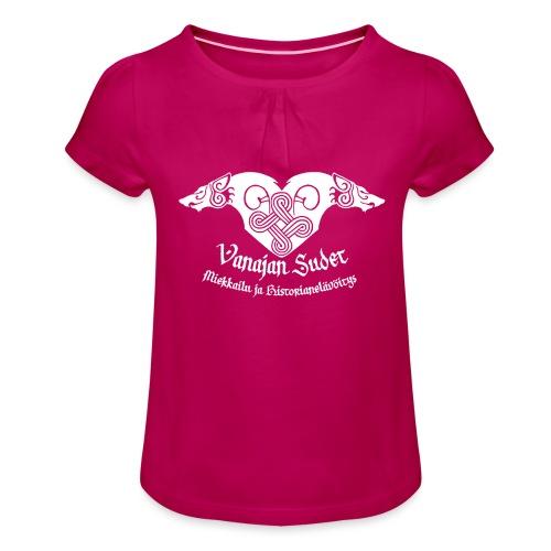 Vanajan Sudet Logo (valkoinen) - Tyttöjen t-paita, jossa rypytyksiä