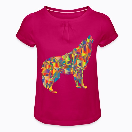 howling colorful - Girl's T-Shirt with Ruffles